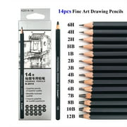 Graphite Drawing Pencils and Sketch Set (14-Piece Kit), 1B - 6H, Ideal for Drawing Art, Sketching, Shading, Artist Pencils for Beginners & Pro Artists