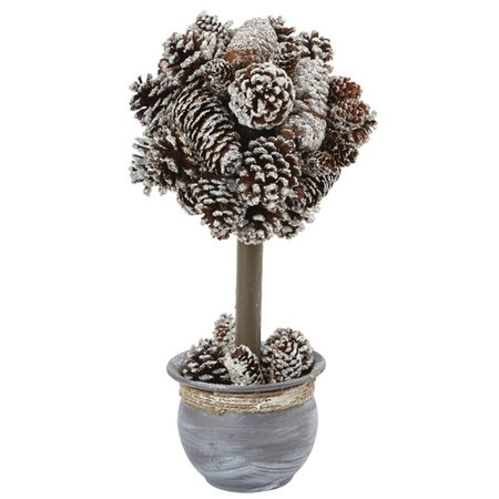Nearly Natural Snowy Pine Topiary in Planter (Pinecone Topiary)