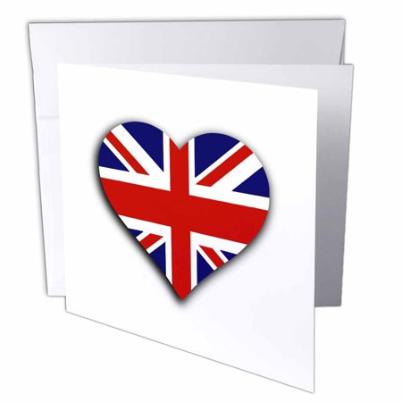3dRose British Flag Heart - UK Union Jack for England and Great Britain fans - Greeting Cards, 6 by 6-inches, set of 6 ()