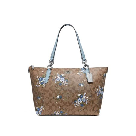 Coach Womens Handbag Tote (NEW WOMENS COACH (F30247) SIGNATURE FLORAL KHAKI PALE BLUE AVA TOTE HANDBAG )