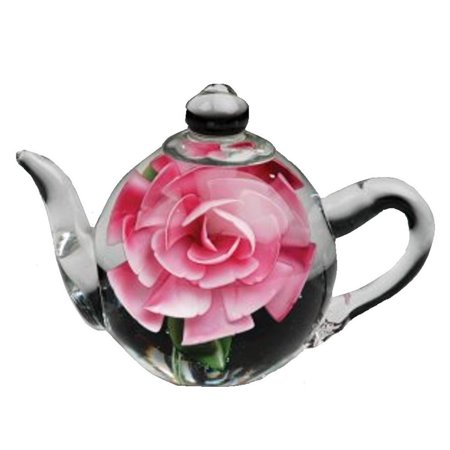 Dichroic Glass Paperweight (Dynasty Gallery Glass Teapot Paperweight with Pink Rose 6128 5.5 Inches Long )