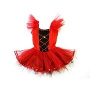 Red Black Cross Lines Sequined Tutu Ballet Dress Girls S