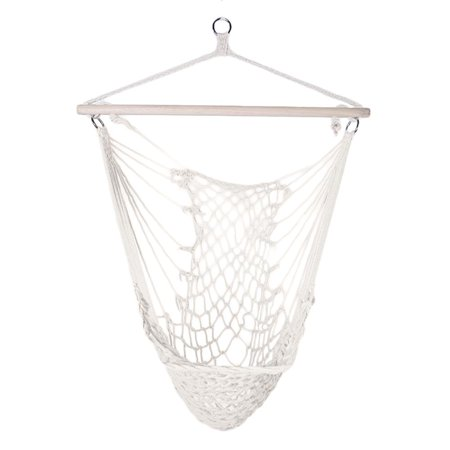 Ktaxon Hammock Cotton Swing Camping Hanging Rope Chair Wooden Beige White for Outdoor Patio ()
