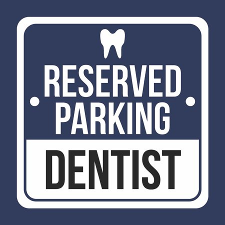 Reserved Parking Dentist With Symbol Print Blue, White And Black Plastic Square Signs, 12x12