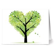 72 Note Cards - Tree of Love - Blank Cards - Green Envelopes Included