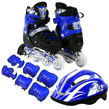 Kids Inline Skates Combo Set 6 PCS Protective Gear Helmet Durable Safe Outdoor Roller Blue Size Medium