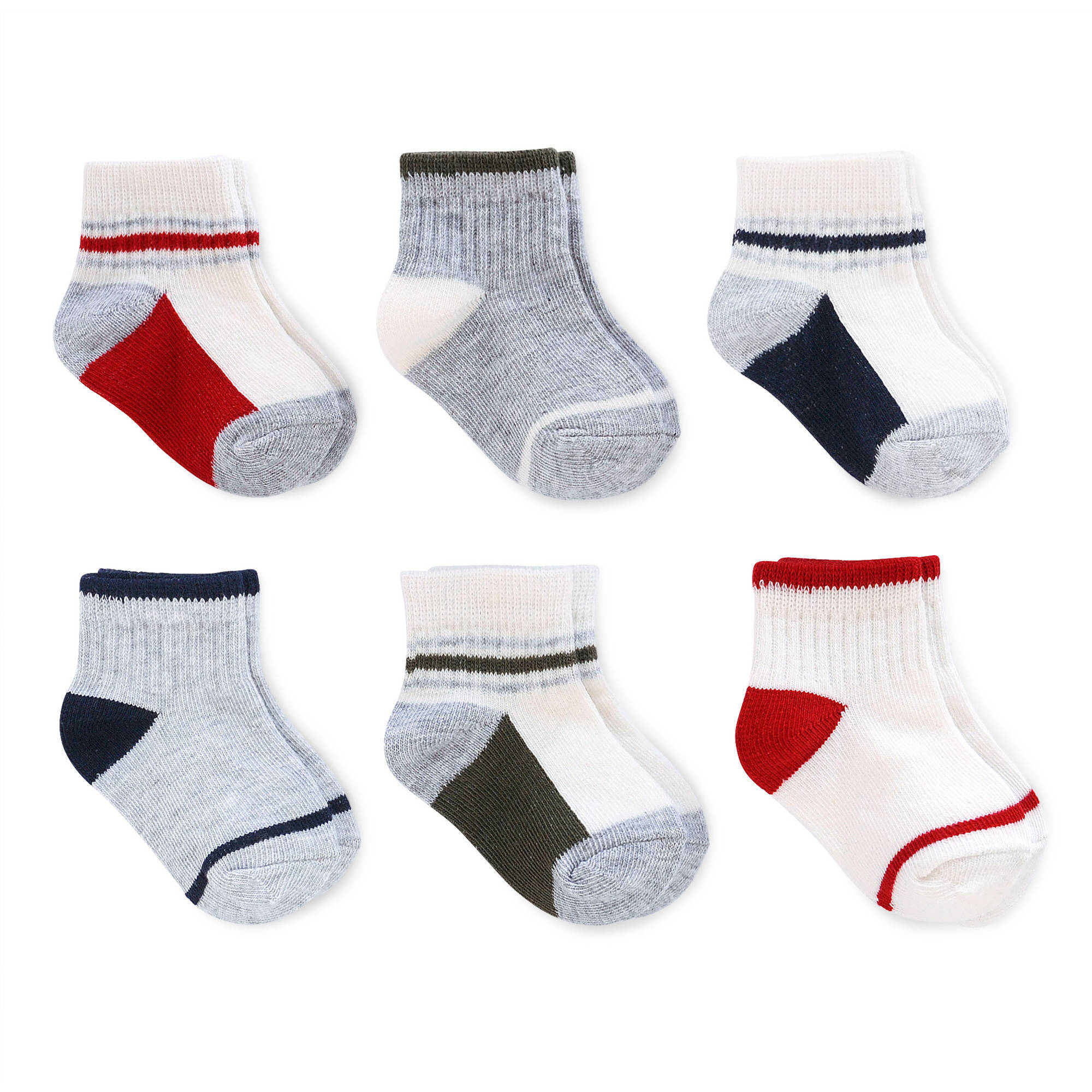 Child of Mine by Carter's Newborn Baby Boy Quarter Crew Socks, 6 Pack