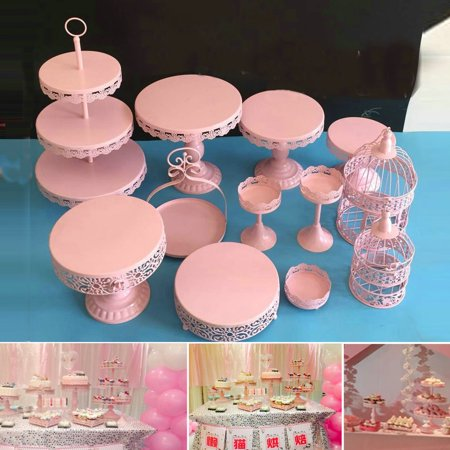 12Pcs Cake Stand Cupcake Wedding Party Holder Display Plates Holder Pink ()