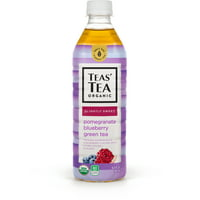 Teas' Tea Organic Lightly Sweet, Pomegranate Blueberry Green Tea, 16.9 Ounce (Pack of 12), Organic, Cane Sugar Sweetened, No Artificial Sweeteners, Antioxidant Rich