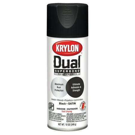 Krylon® Dual Superbond Paint + Primer Satin Black Spray Paint, 12-Oz