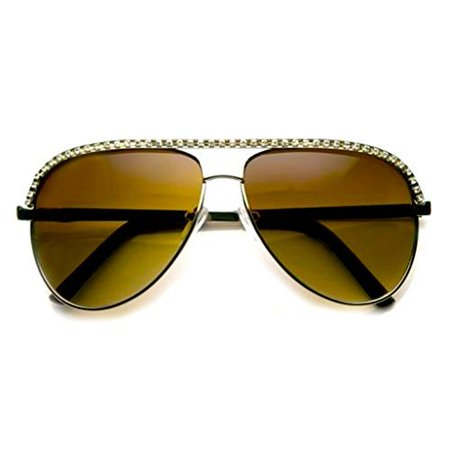 Emblem Eyewear - Rhinestones Womens Aviator Metal Sunglasses Stunner Fashion Celebrity Bling (Gold)