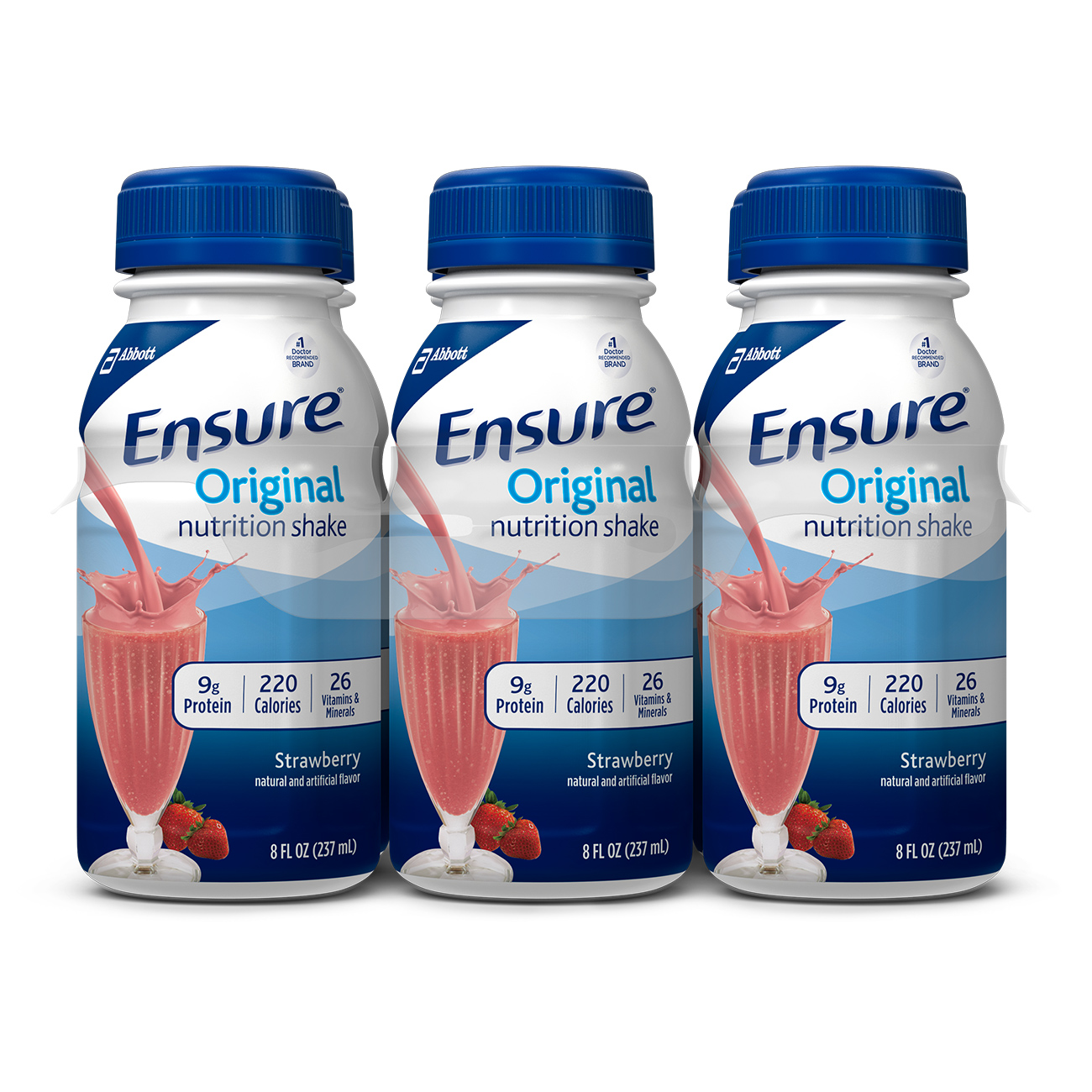 Ensure Original Nutrition Shake with 9 grams of protein, Meal Replacement Shakes, Strawberry, 8 fl oz, 6 Count