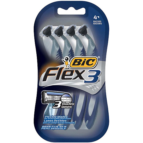 BIC Flex 3 Men's 3 Blade, Disposable Razor, 4 Ct