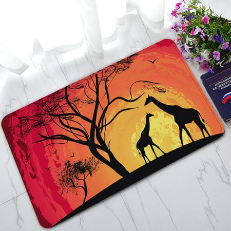 YKCG African Safari Animal Tree of Life Sunset Giraffe Doormat Indoor/Outdoor/Bathroom Doormat 30x18 inches