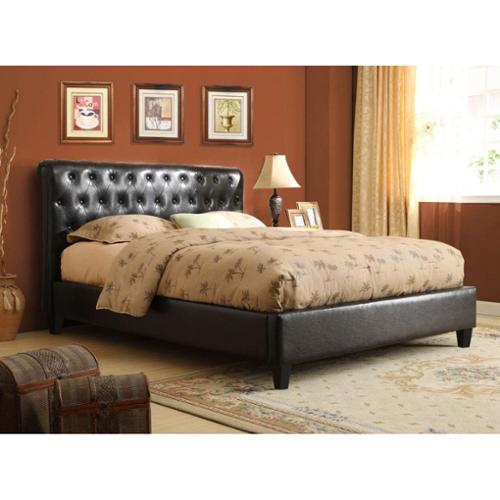K and B Furniture Co Inc Espresso Brown Tufted Upholstered Bed