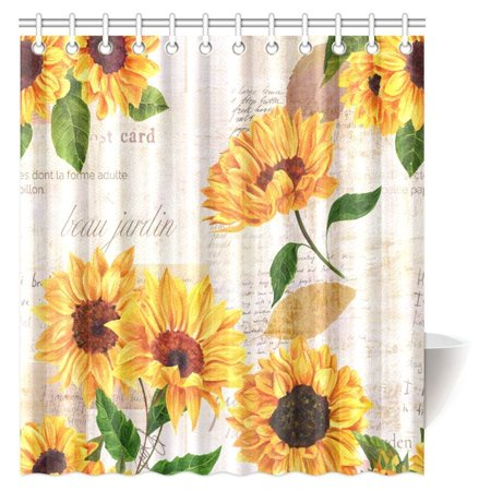 MYPOP Vintage Style Floral Shower Curtain, Vibrant Yellow Watercolor Sunflowers on the Background of Old Letters and Newspaper Bathroom Shower Curtain Set with Hooks, 66 By 72 Inches Long (Shower Curtain With Letter F)