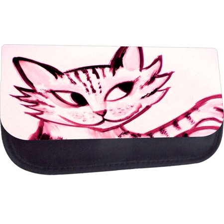 Black Medium Sized Cosmetic Case - Makeup Bag - Nylon Lined - with 2 Zippered Pockets - Pink Kitty