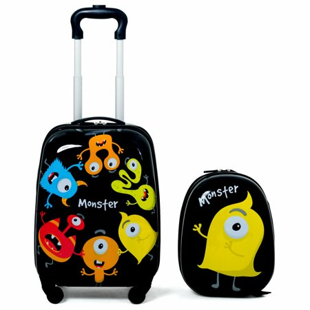 Gymax 2PC Kids Luggage Set Backpack & Rolling Suitcase for School Travel