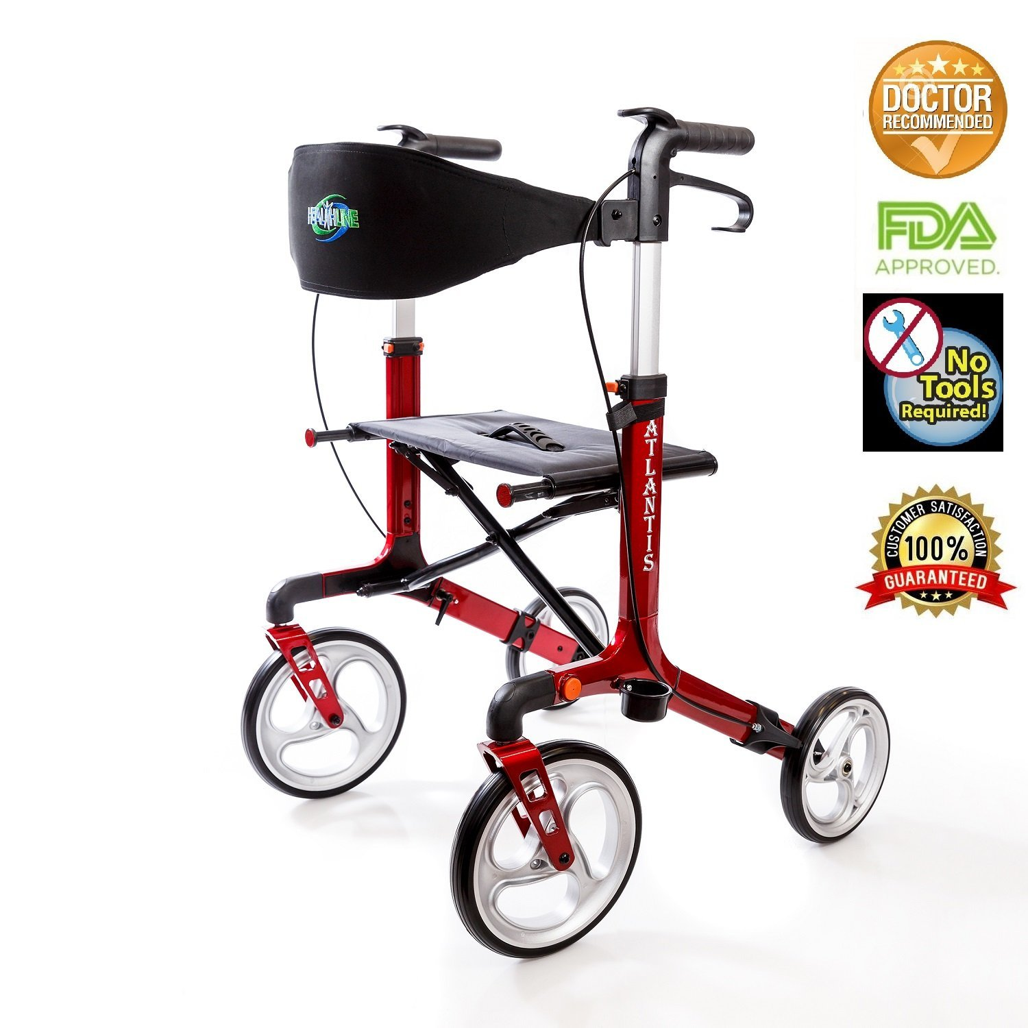 Atlantis Lightweight Rollator Walker with Seat and Wheels, Euro Style Walker - Medical Aluminum Lightweight Folding Rollator Walker with Seat and Large Wheels 10 Inch and Bag, Red