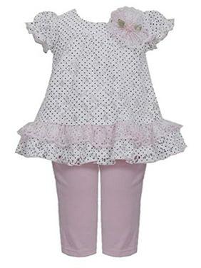 Little Girls 2T-6X Dot Print Lace Dress/Legging Set, Pink [BNJ02979]