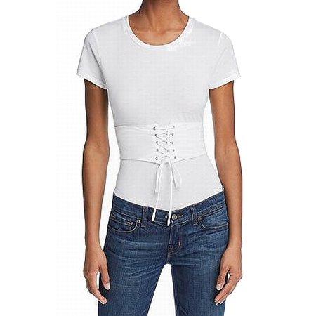 4b46281316711 Guess Tops & Blouses - Guess Womens Corset Waist Short Sleeve Knit Top -  Walmart.com