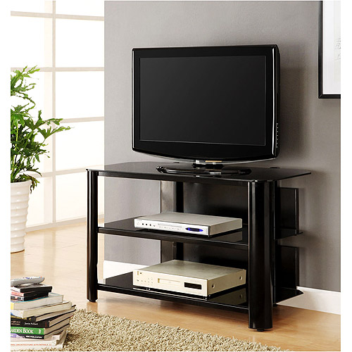 """Innovex Black and Glass TV Stand for TVs up to 42"""""""