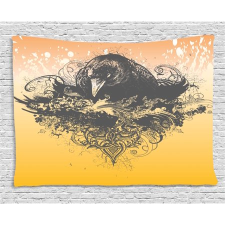 Black Decor Tapestry, Halloween Theme Vector Illustration of a Wicked Crow and Flowers Print, Wall Hanging for Bedroom Living Room Dorm Decor, 60W X 40L Inches, Black and Mustard, by Ambesonne - Halloween Themed Room Ideas
