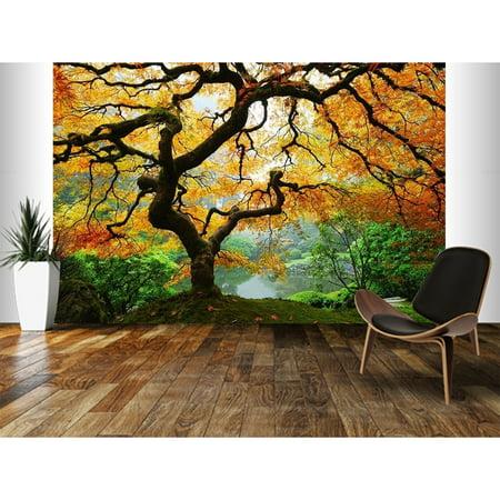 "Startonight Mural Wall Art Maple Tree, Illuminated Landscape Large Wallpaper Photo 5 Stars Gift 10 x 28,82 '' x 50,4 '' Total 8'4""x 12'"