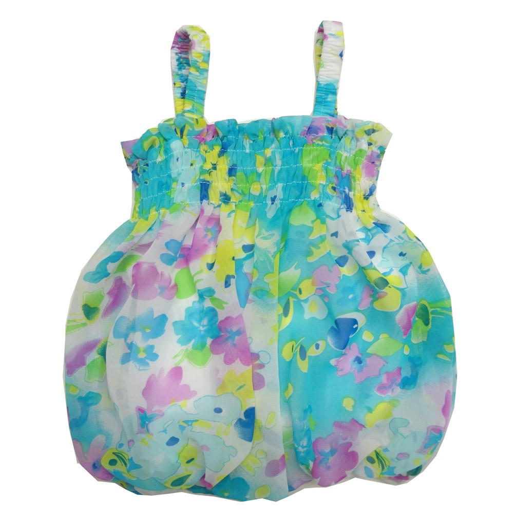 Baby Girls Turquoise Floral Print Strap Bubble Chiffon Dress 6-24M