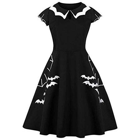 BeautyGal Women\'s Vintage Halloween Bat Pattern Party Costumes Plus Size  Dresses 3XL