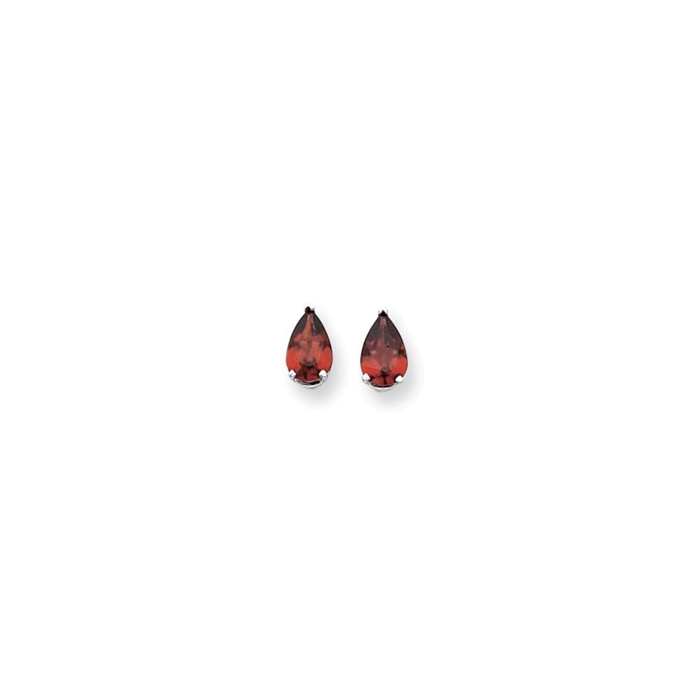 14k White Gold 9x6mm Pear Garnet Earrings. Gem Wt- 2.8ct