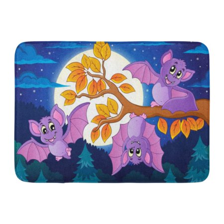 GODPOK Draw Animal Bats 5 Halloween Autumn Bough Branch Cute Drawing Rug Doormat Bath Mat 23.6x15.7 inch (Cute Halloween Bat Drawings)