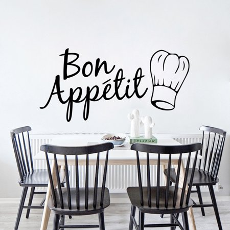Electronicheart Bon Appetit Kitchen Wall Sticker Art Quote Wall Decal Kitchen Dining Room Restaurant Decor - image 6 of 6
