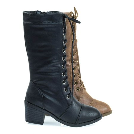 Eury6K by Link, Kid's Military Combat Boots W Chunky Block Heel, Lace UP & Zipper Closure