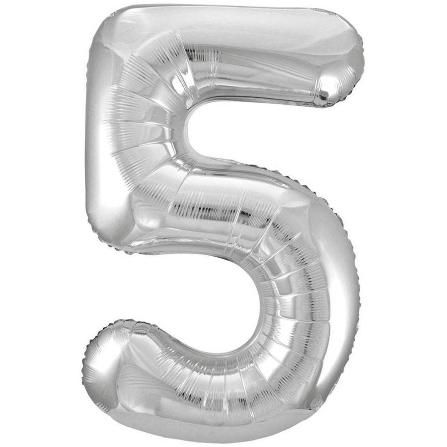Foil Big Number Balloon, 5, 34 in, Silver, 1ct