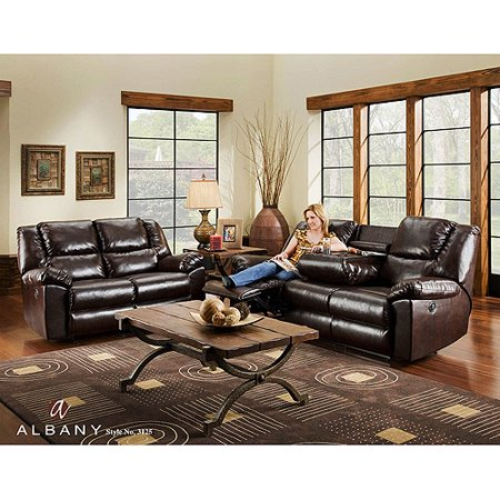 Albany Duncan Bonded Leather Reclining Massage Sofa With Drop Down Table Chocolate