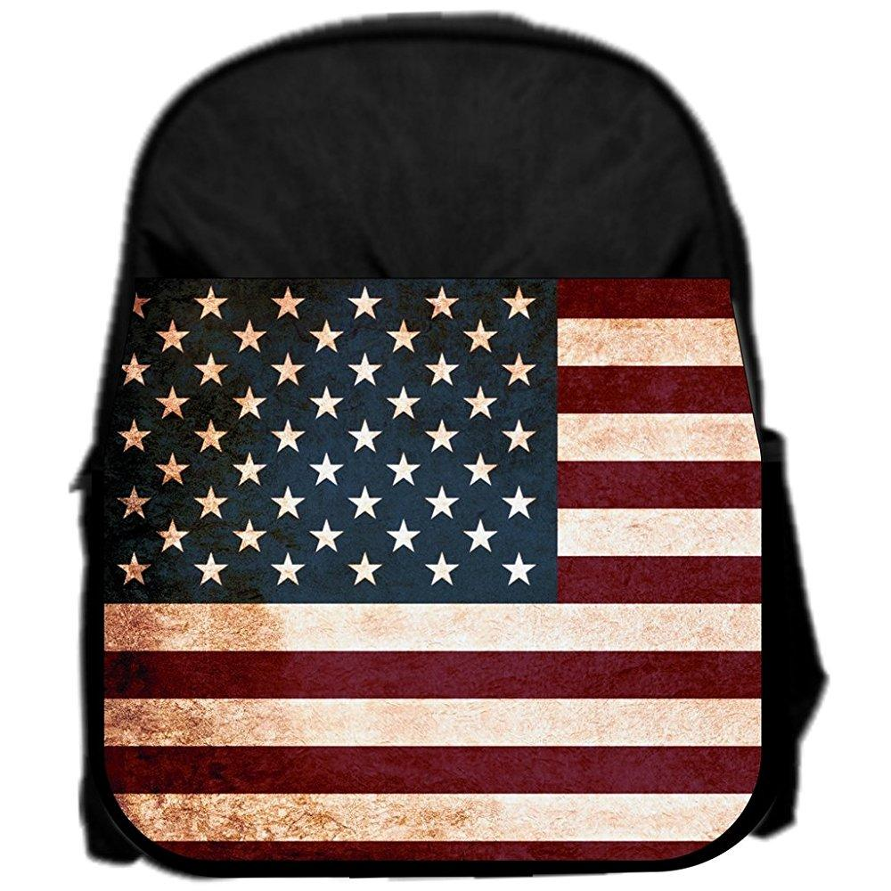 lea elliot pre-school backpack, grungy american flag, small, black