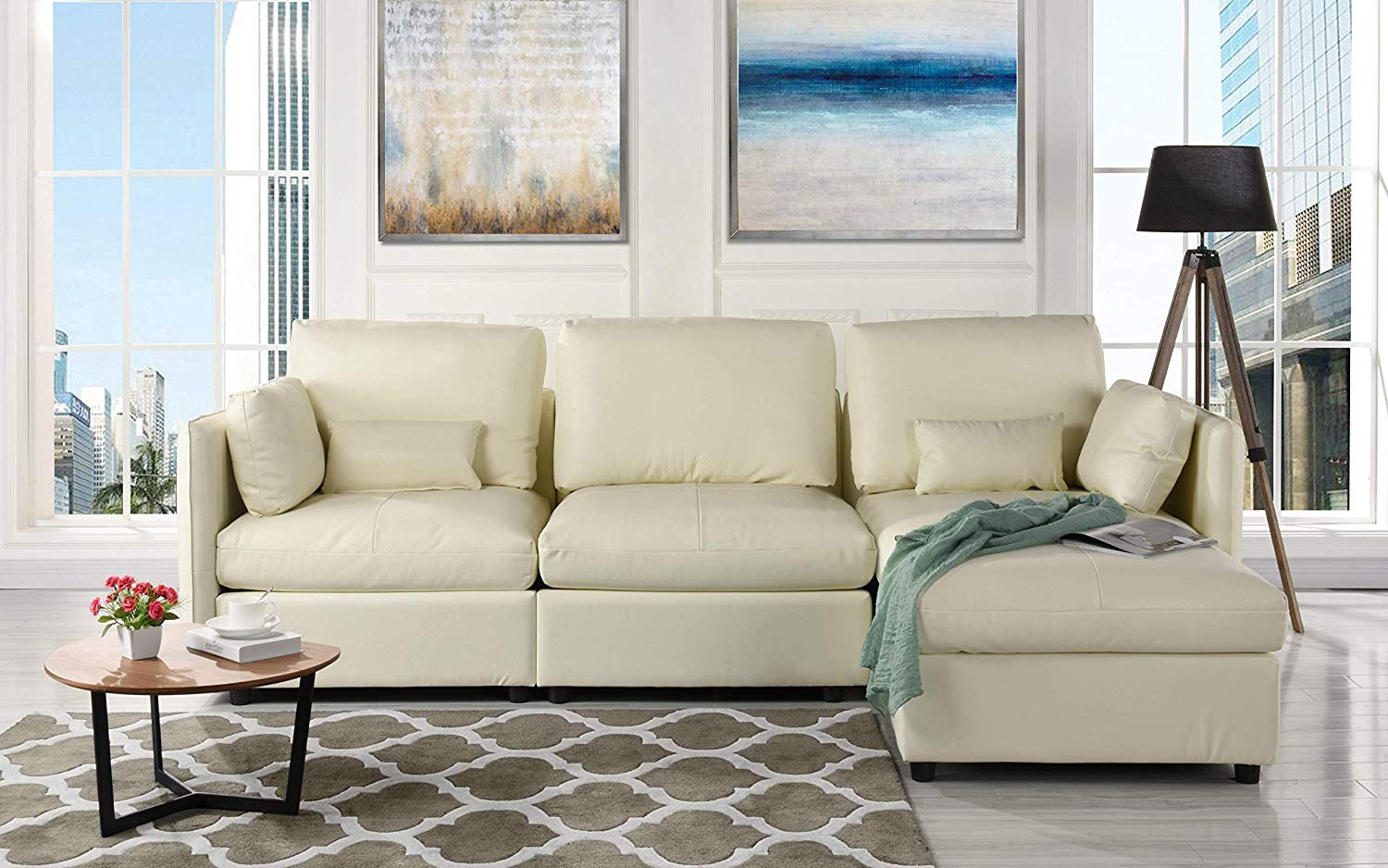 L-Shape Living Room Leather Match Sectional Sofa, Right ...