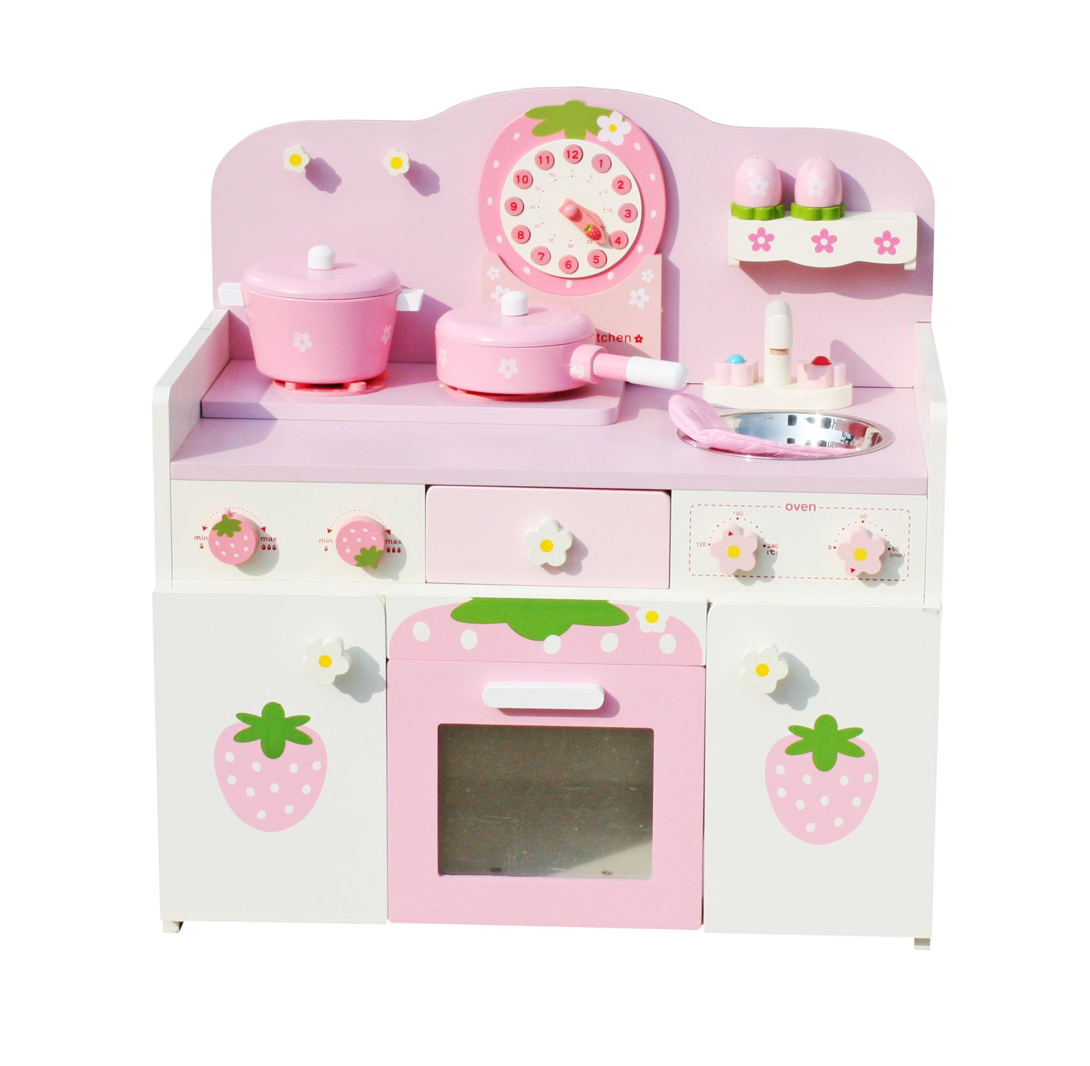 Timy Wooden Kitchen Toy Pretend Cooking Kids Children Role Play Set