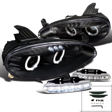 Spec-D Tuning For 2001-2005 Mazda Miata Black Halo Projector Headlights + Led Bumper Fog Lamps (Left+Right) 2001 2002 2003 2004
