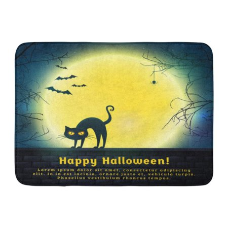 GODPOK Happy Halloween with Full Moon and Evil Cat Spooky Night with Copy Space for Greetings Promo Text Rug Doormat Bath Mat 23.6x15.7 inch - 13 Nights Of Halloween Promo
