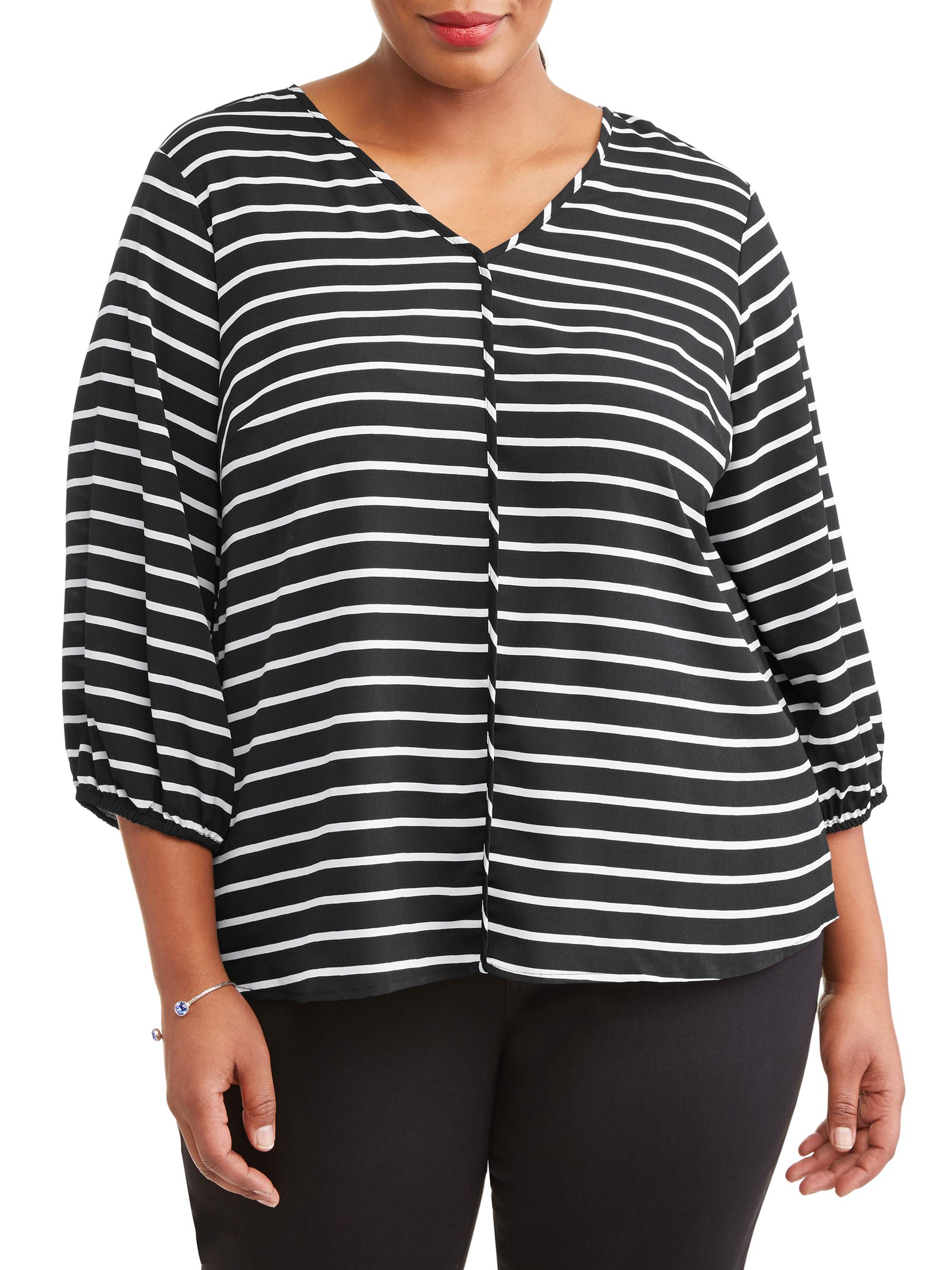 Women's Plus Size Plunge Striped Blouse