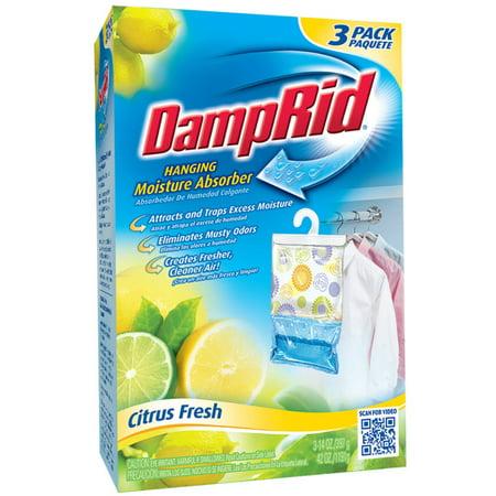 - DampRid Hanging Moisture Absorber, Citrus Fresh Scent, 3 x 14 Oz