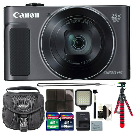 Canon PowerShot SX620 HS 20.2 MP 25X Optical Zoom Wifi / NFC Enabled Point and Shoot Digital Camera Black + Top Accessories