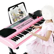 iMeshbean 61 Key Music Electronic Keyboard Electric Digital Piano Organ with Stand, Pink