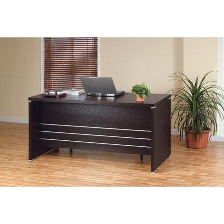Contemporary Style Desk With 2 Locking File Drawers, Dark Brown ()