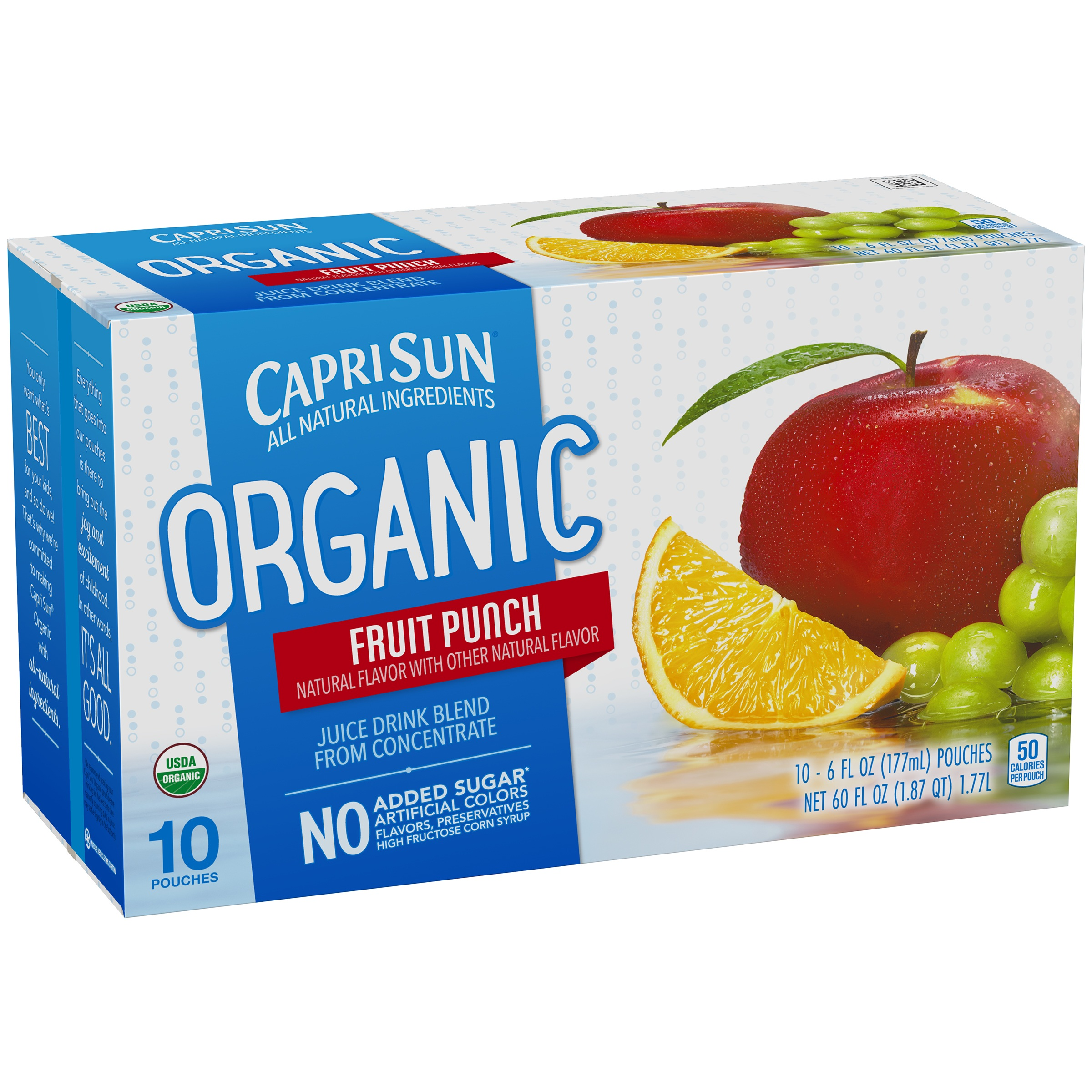 Capri Sun Organic Juice Pouches, Fruit Punch, 6 Fl Oz, 10 Count