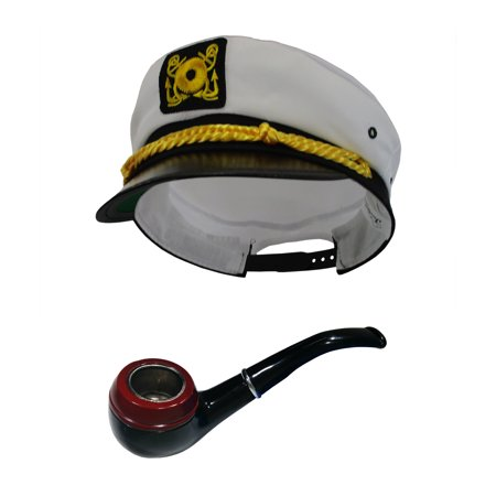 Sailor Costume Hat (White Sailor Ship Yacht Captain Hat Gentleman Smoke Pipe Tobbaco Costume)
