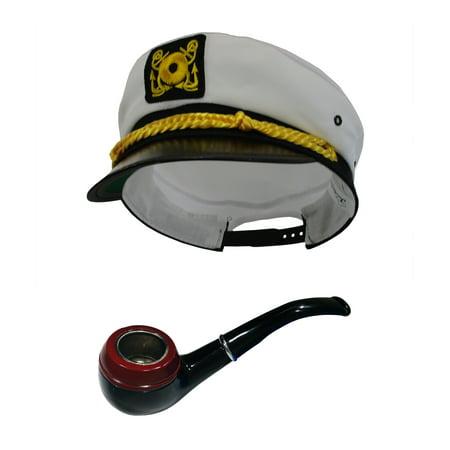 Captain Sailor Costume (White Sailor Ship Yacht Captain Hat Gentleman Smoke Pipe Tobbaco Costume)