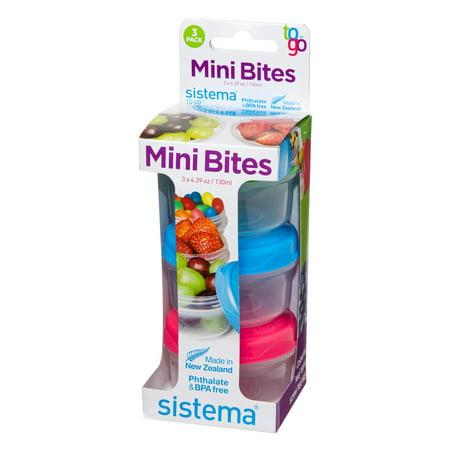 Rubbermaid Sistema Small Mini Bites Snack Containers, 3 Count ()